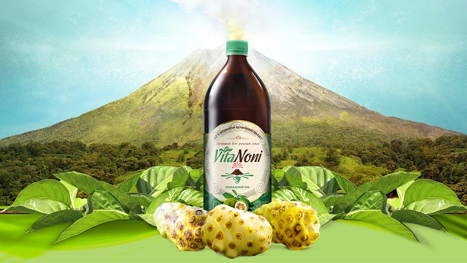 Дизайн упаковки уникального сока VitaNoni © Креативное агентство KENGURU