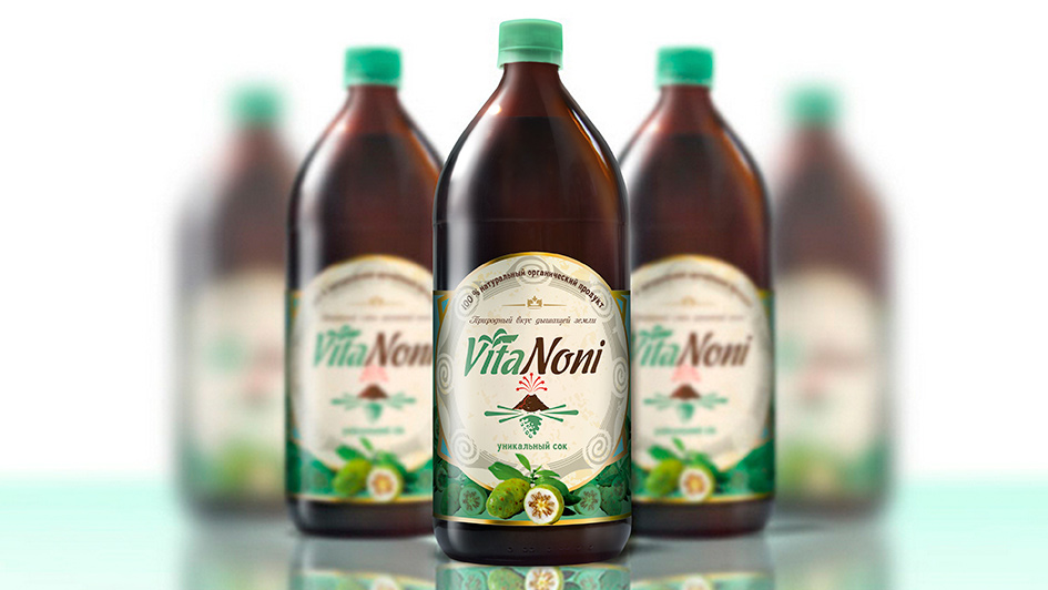 Разработка упаковки для сока VitaNoni © Креативное агентство KENGURU