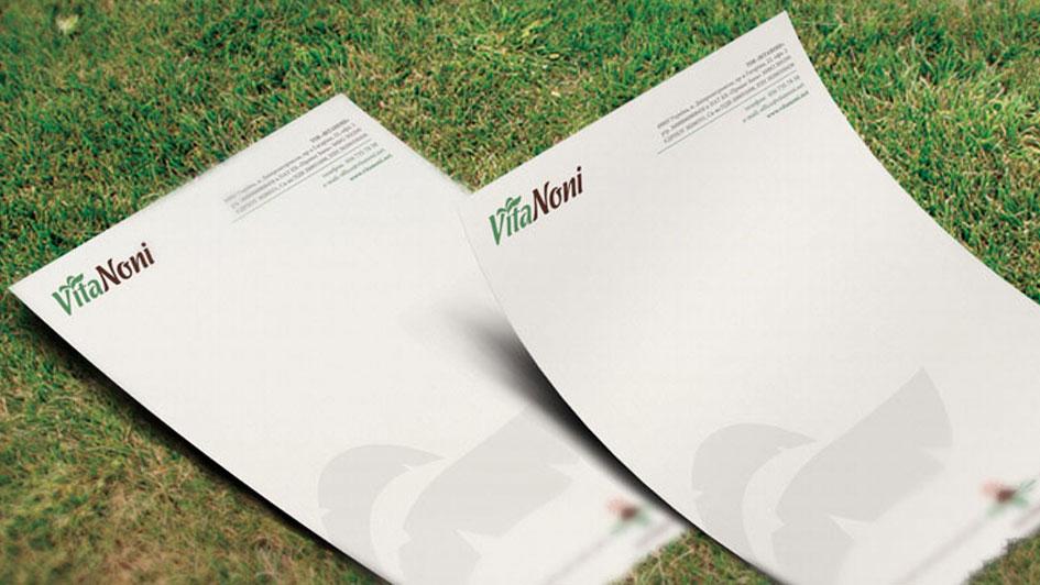 Фирменные бланки компании VitaNoni. Дизайн бренда © Креативное агентство KENGURU