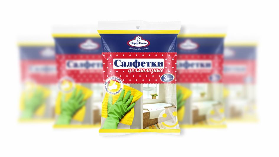 Салфетки для уборки Happy House. Концепт упаковки © Креативное агентство KENGURU