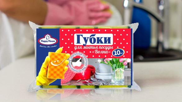 Концепт упаковки для линейки ТМ Happy House - губка, салфетка, скребок © Креативное агентство KENGURU