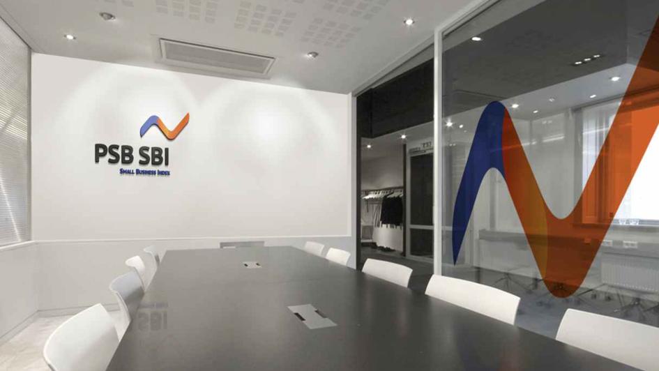 Использование логотипа в интерьере офиса PSB SBI © Креативное агентство KENGURU