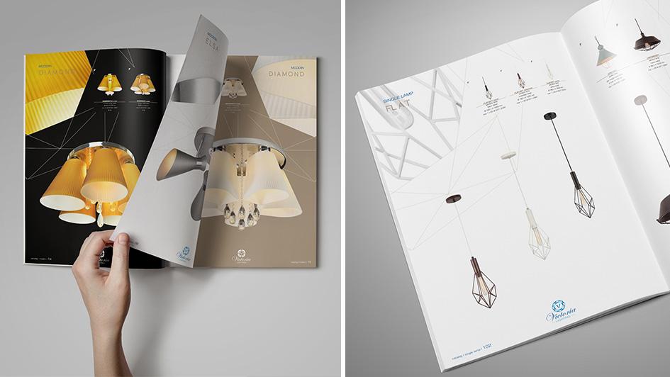 Дизайн разворота каталога светильников © Креативное агентство KENGURU