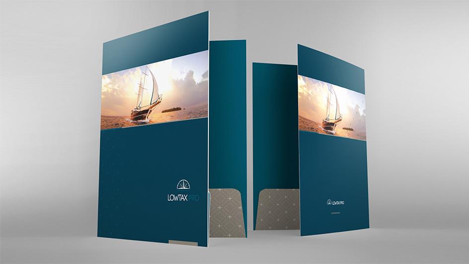 Фирменные принадлежности LOWTAX PRO. Разработка дизайна © Креативное агентство KENGURU