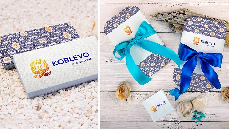 Визитки и подарочная продукция в фирменном стиле KOBLEVO © Креативное агентство KENGURU