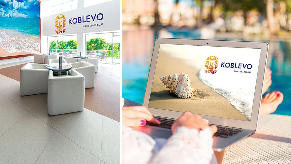 Использование логотипа KOBLEVO в дизайне © Креативное агентство KENGURU