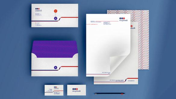Создание печатной продукции с фирменной графикой компании MEGABANK © Креативное агентство KENGURU