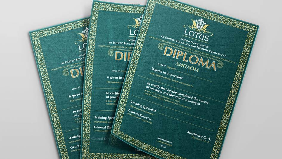 Использование логотипа на дипломах. Международная школа LOTUS © Креативное агентство KENGURU