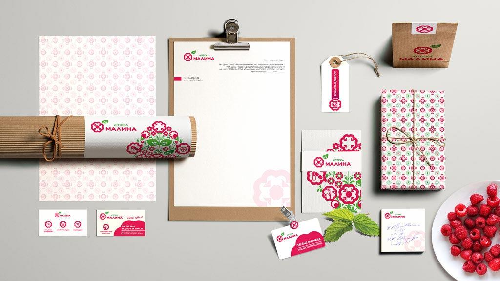 "Дизайн канцелярских принадлежностей с логотипом аптеки ""Малина"" © Креативное агентство KENGURU"