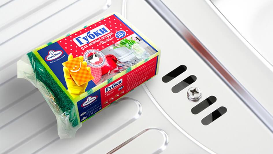 Губка для посуды Happy House. Дизайн упаковки © Креативное агентство KENGURU