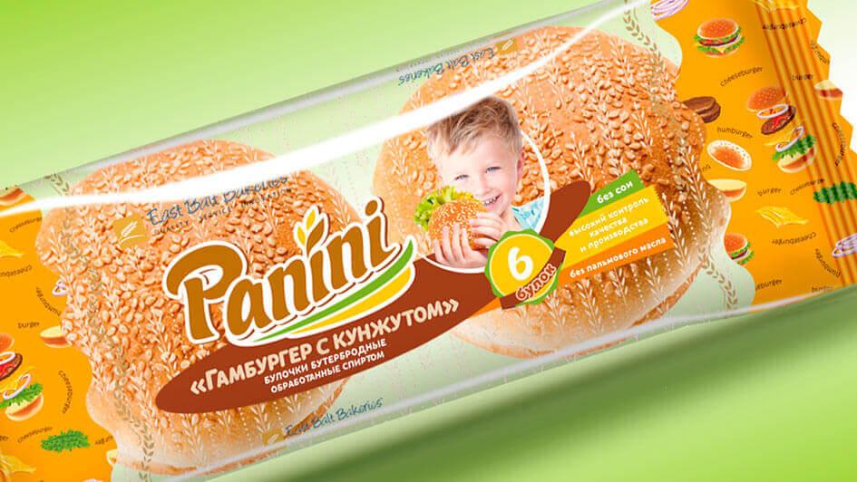 Концепт упаковки. Гамбургер с кунжутом, ТМ Panini © Креативное агентство KENGURU