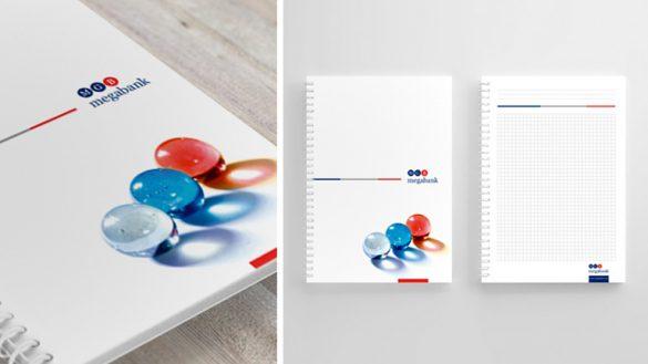 Дизайн фирменного блокнота MEGABANK © Креативное агентство KENGURU