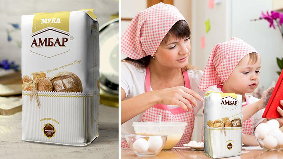 """Дизайн упаковки муки """"Амбар"""" © Креативное агентство KENGURU"""