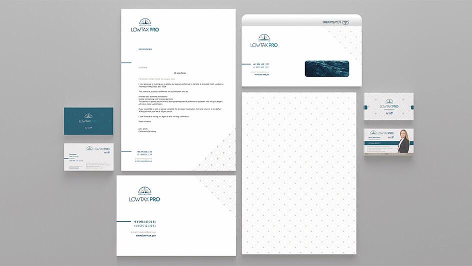 Разработка фирменной графики и логотипа для LOWTAX PRO © Креативное агентство KENGURU