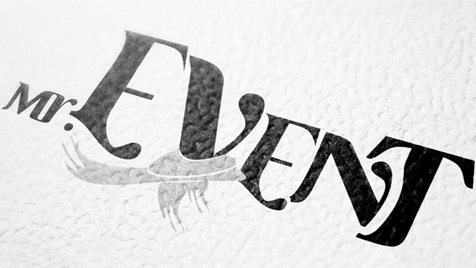 "Использование логотипа ""Мистер Event"" в печати © Креативное агентство KENGURU"