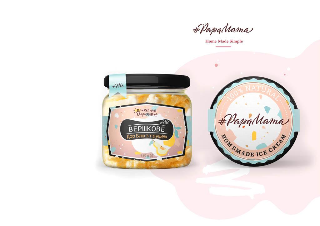 Этикетка для домашнего мороженого #PapaMama © Креативное агентство KENGURU